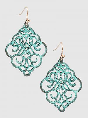 Metal Filigree Ornate Stencil Drop Earrings