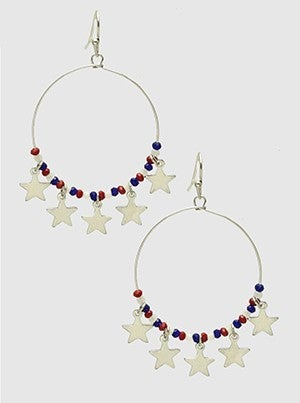 Metal Wire With USA Beads And Star Charms Dangle Drop Earrings