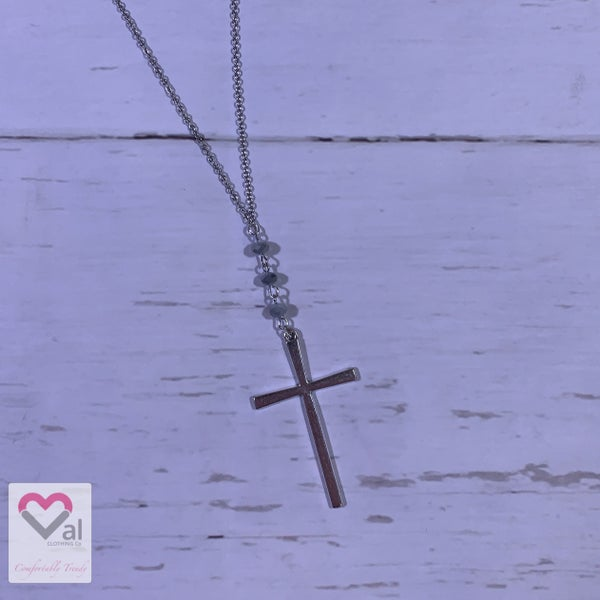 Cross Necklace with Grey Glass Beads