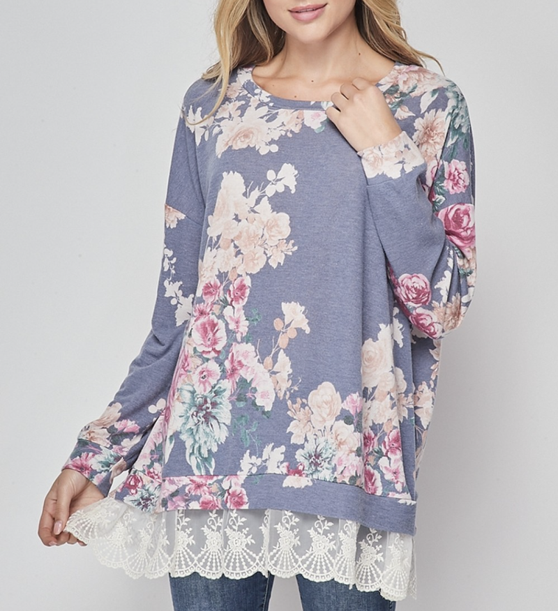 Long Sleeve Floral Bunch Top with Lace Bottom Detail