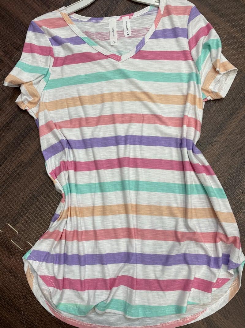 Short Sleeve V Neck Multi Striped Top