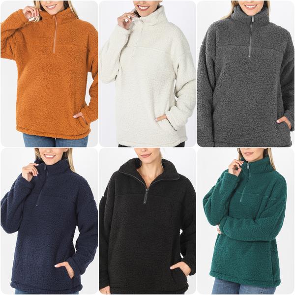 Long Sleeve Quarter Zip Sherpa Pullover