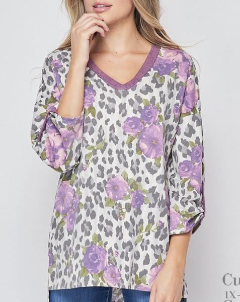 3/4 Rolled Sleeve V Neck Floral Snow Leopard Top