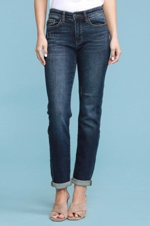 Judy Blue Mid Rise Dark Wash Tapered Slim Fit Jeans
