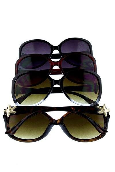 Retro Sunglasses with Starfish Rhinestone Detail