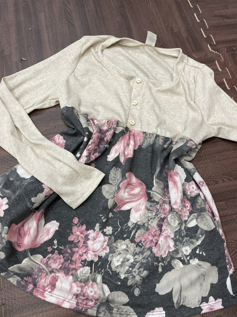 Long Sleeve Solid and Floral Babydoll Top with Pockets