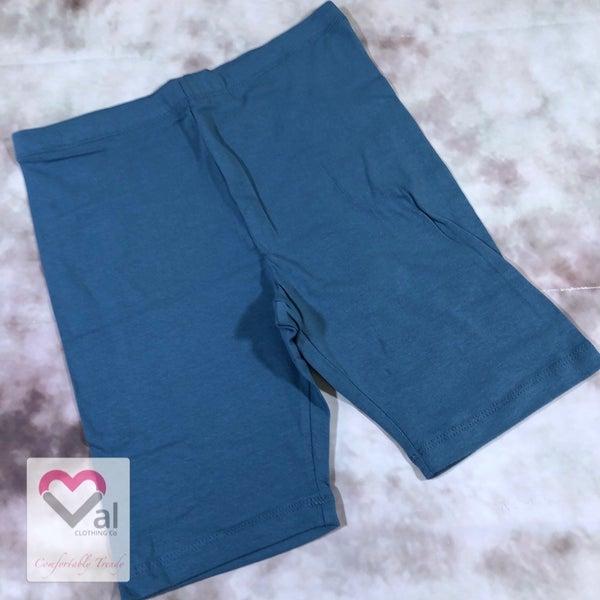 Solid Cotton Biker Shorts - Titanium