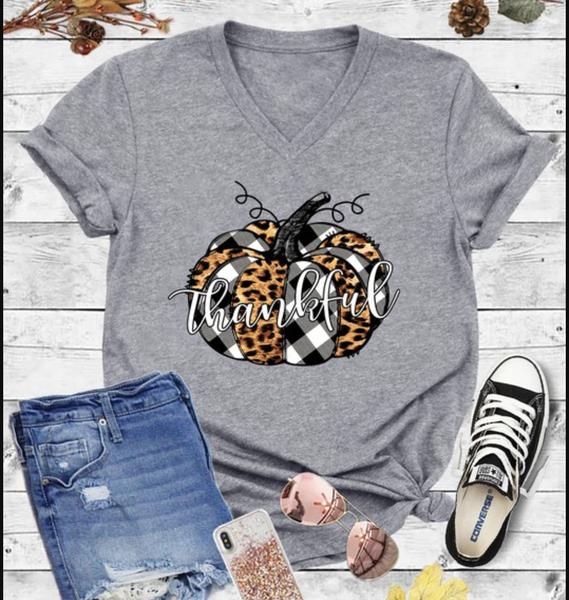 Short Sleeve V Neck Thankful Leopard Top
