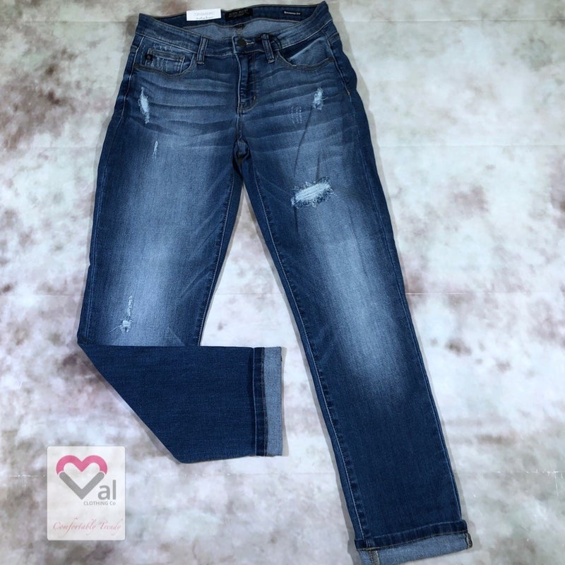 Judy Blue Mid Rise Boyfriend Jeans with Slight Distressing