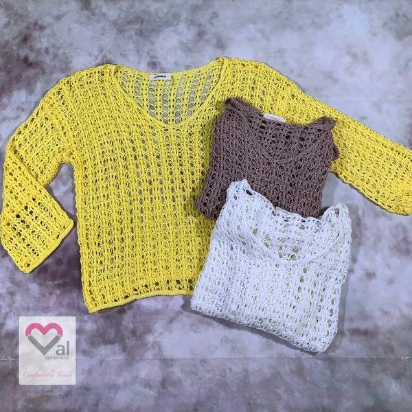 Long Sleeve Open Knit V Neck Sweater