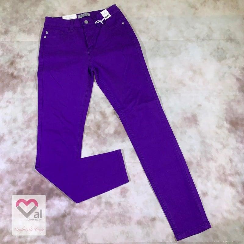 Judy Blue High Waist Solid Purple Skinny Jeans