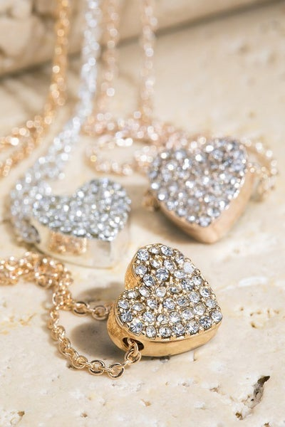 Crystal Heart Charm Necklace Set