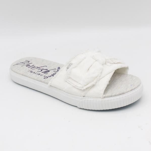 Blowfish Fondue Slide Shoe in White Smoked Twill