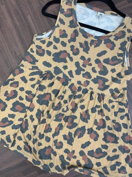 Sleeveless Wildcat Print Babydoll Top