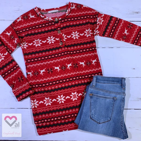 Long Sleeve Holiday Pattern Top with Button Neck Detail