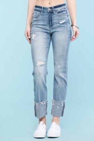 Judy Blue Light Wash Destroyed Hem Cuffed Straight Leg Jeans