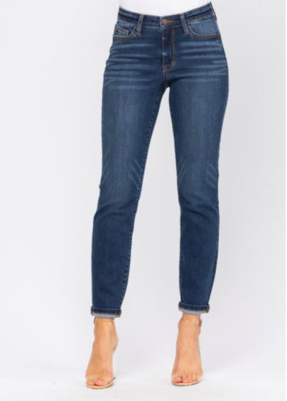 Judy Blue Mid Rise Handsand Cuffed Boyfriend Jeans