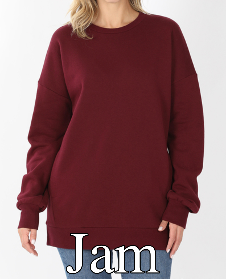 Long Sleeve Round Neck Sweatshirt Top with Pocket Detail