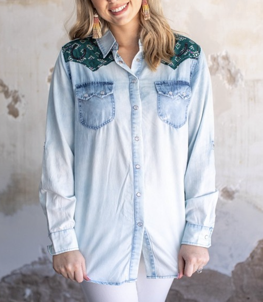 Long Sleeve Chambray Button Up Top with Aztec Detail