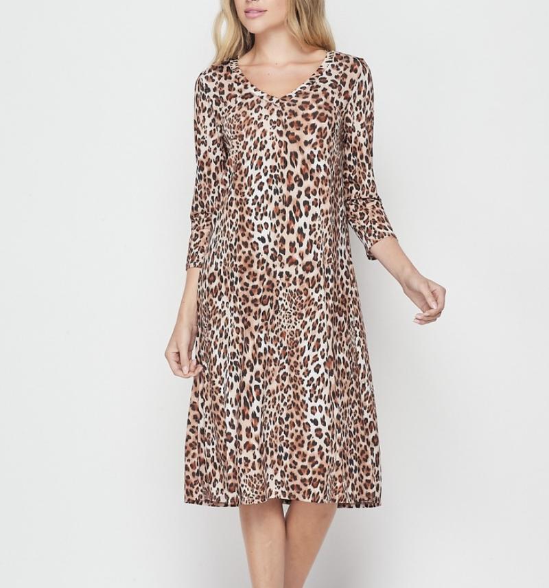 3/4 Sleeve V Neck Leopard Print Dress with Pockets