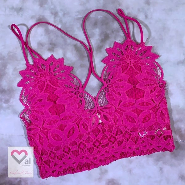 Double Strap Lace Lined Bralette - Fuchsia