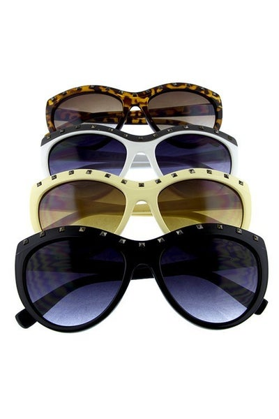 Cat Eye Top Studded Fashion Sunglasses