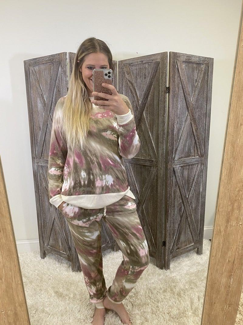 Full Length Joggers in Marble Tie Dye Print