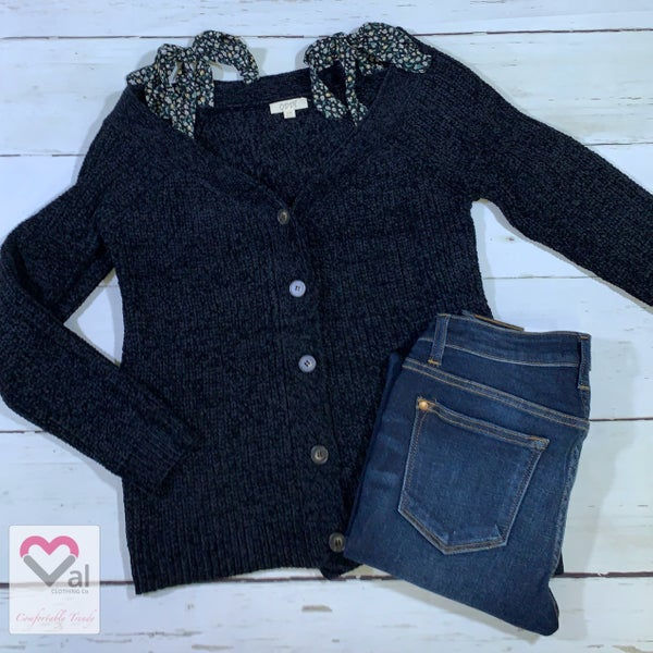 Long Sleeve Button Down Sweater Top with Floral Tie Detail