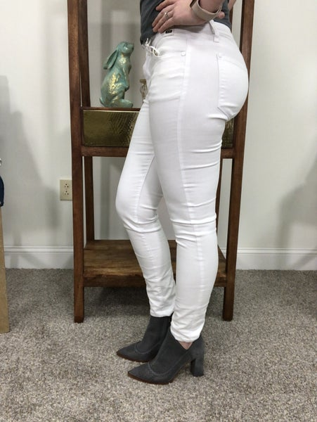 Judy Blue White Mid Rise Skinny Jeans