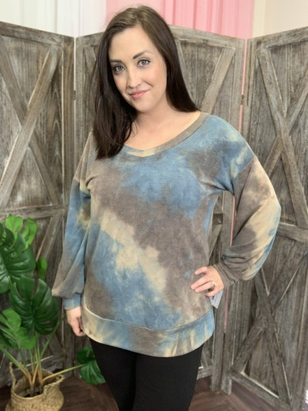 Long Sleeve V Neck Cool Autumn Day Tie Dye Top