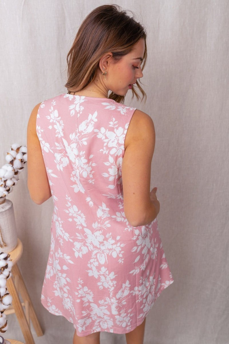 Sleeveless Floral Print Dress with Lace Detail