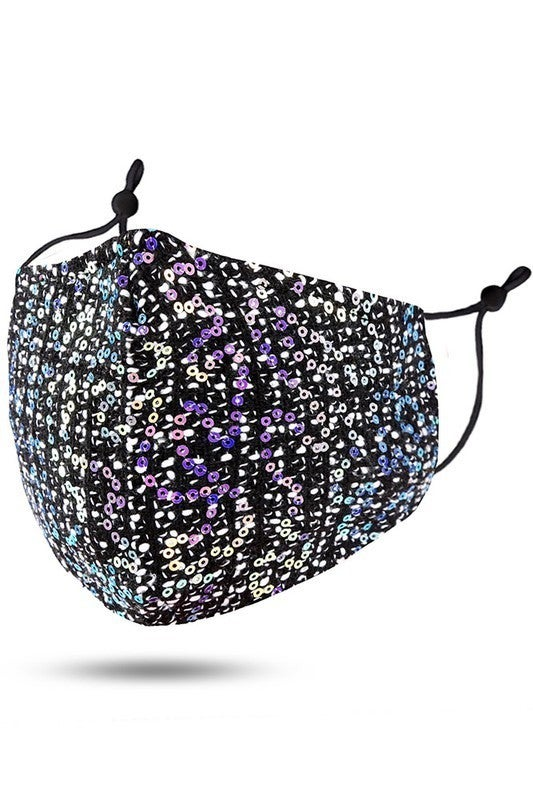 Sequin Face Covering with Filter Pocket