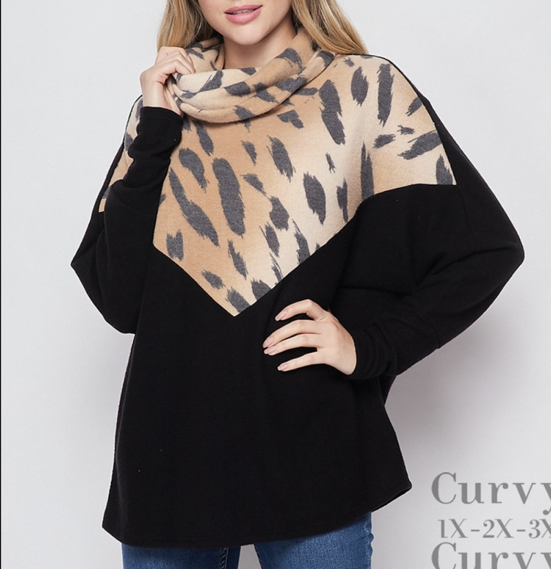 Long Sleeve Cheetah and Solid Cowl Neck Top