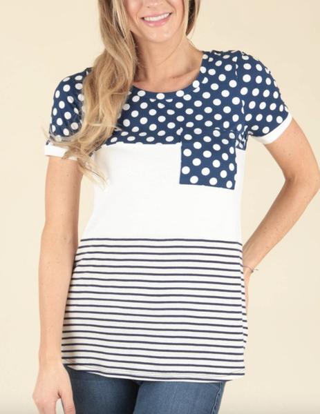 Short Sleeve Polka Dot & Stripe Color Block Top