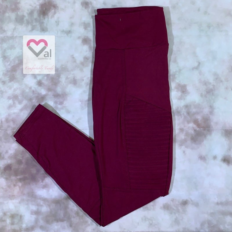 High Waisted Solid Moto Leggings with Yoga Band