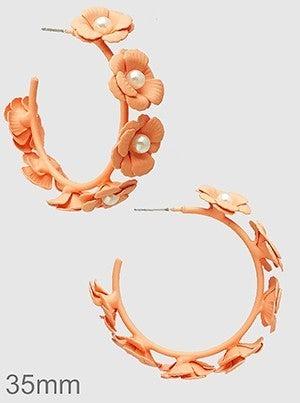 35MM Floral Flower Pearl Open Round Hoop Earrings