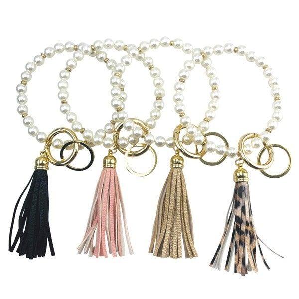 Pearl & Tassel Keychain Ring Bangle
