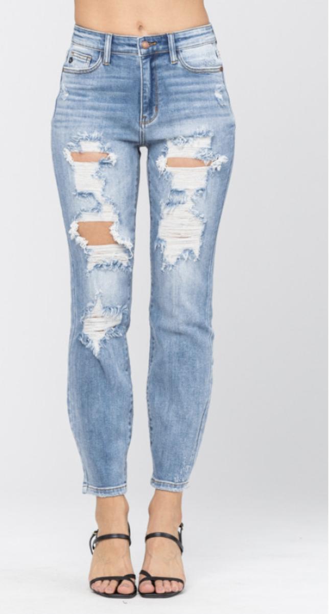 Judy Blue Light Wash High Rise Destroyed Boyfriend Jeans