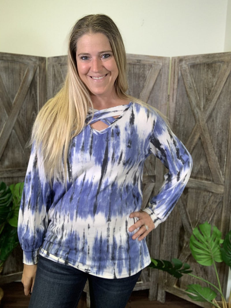 Long Sleeve V Neck Criss Cross Vertical Tie Dye Top