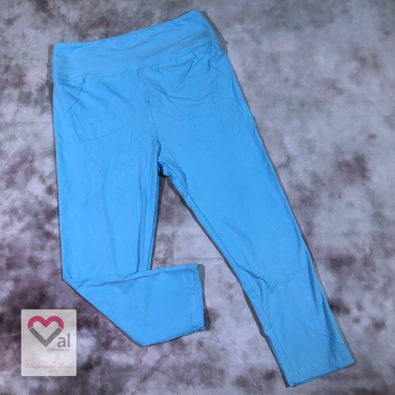 Solid Sky Blue Capri Leggings