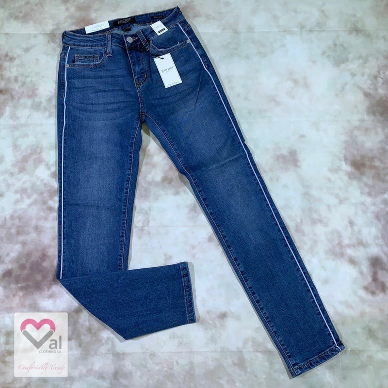 Judy Blue Mid Rise Skinny Jeans with Side Piping