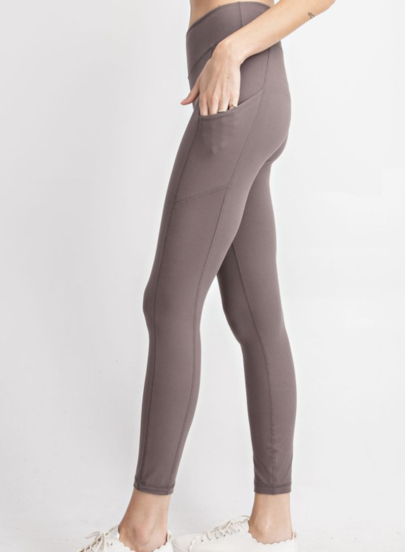 Solid Smoky Grey Pocket Leggings