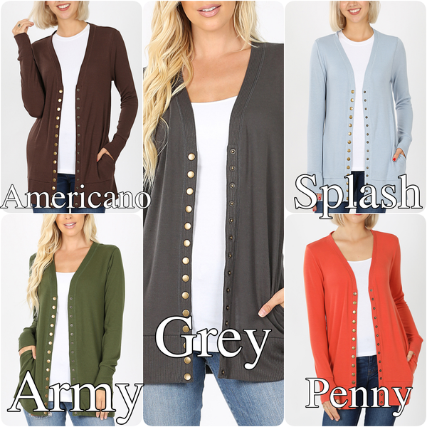 Long Sleeve Solid Snap Button Cardigan with Pockets