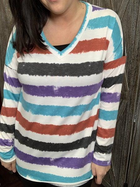 Long Sleeve V Neck Painted Stripe Print Top