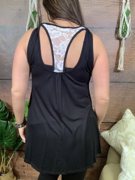 Sleeveless Solid Top with Lace Back Detail