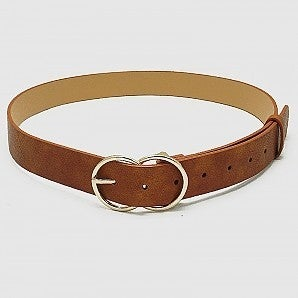 Plus Designer Inspired Metal Buckle Leatherette Belt