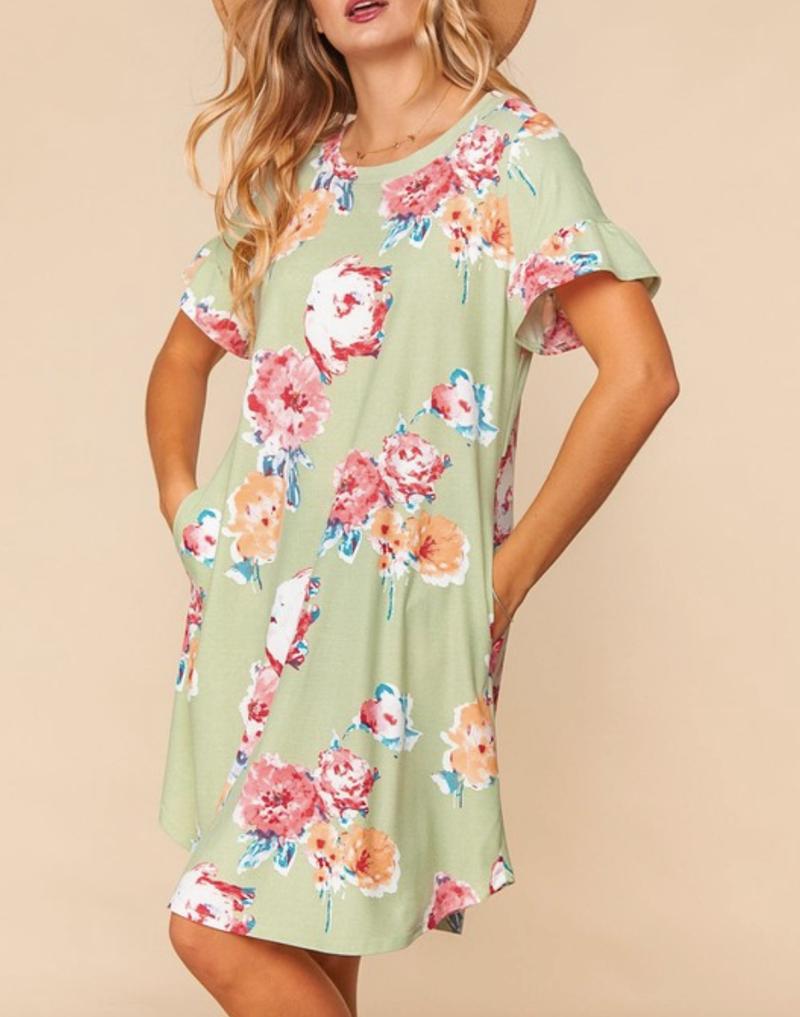 Short Ruffle Sleeve Floral Midi Dress