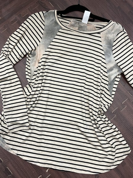 Long Sleeve Striped Top with Tie Dye Contrast