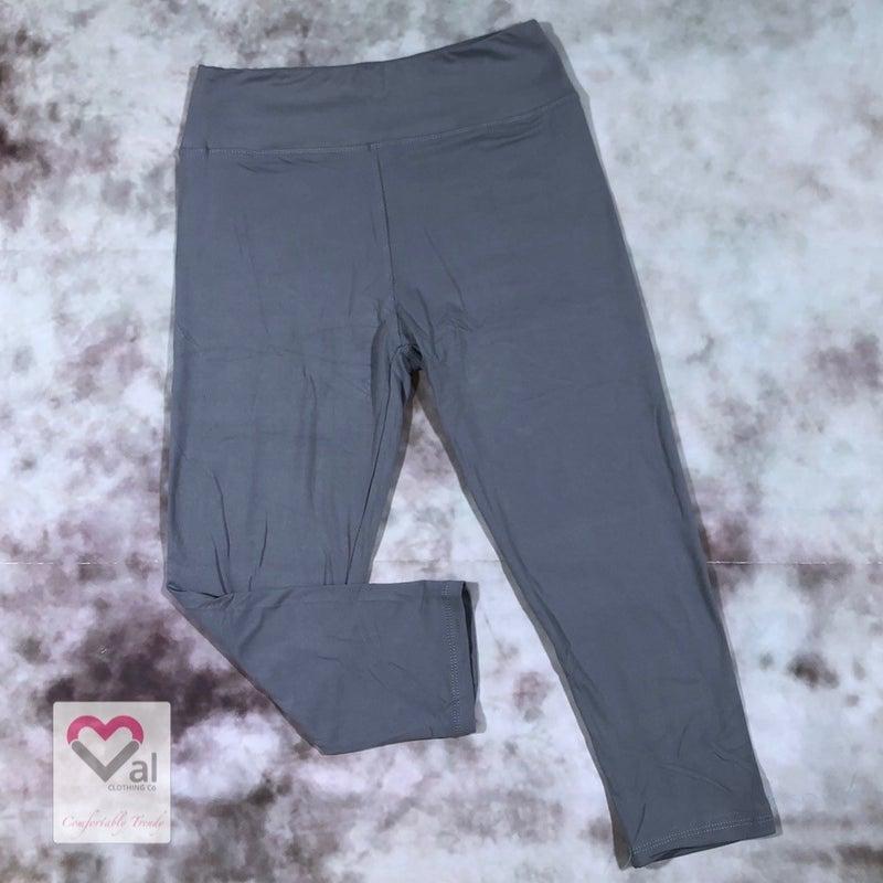 Solid Grey Capri Leggings
