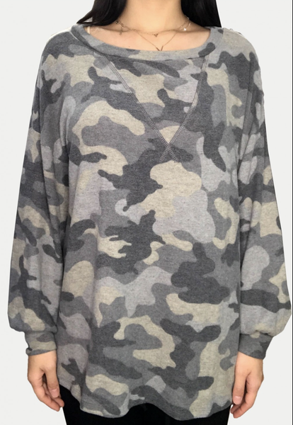 Long Bubble Sleeve Camo Top with Stitch Detail